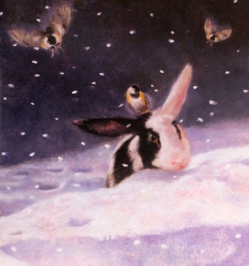 On a Snowy Night chickadees